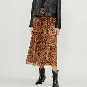 Free People Lydia Leopard Midi Skirt